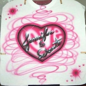 LOVE HEART Airbrushed T-shirt Custom Made